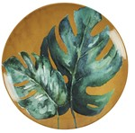 Assiette murale jaune Monstera
